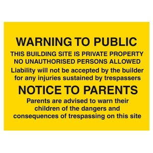 Warning To Public Site Is Private Property / Notice To Parents Danger Of Trespassing - Landscape - Large