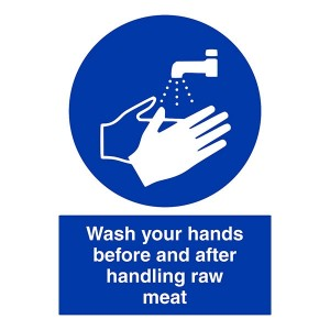 Wash Your Hands Before and After Handling Raw Meat - Portrait
