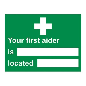 Your First Aider Is Located - Landscape - Large