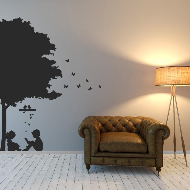 abstract nature, summer, tree, leafs, birds, butterflies, children