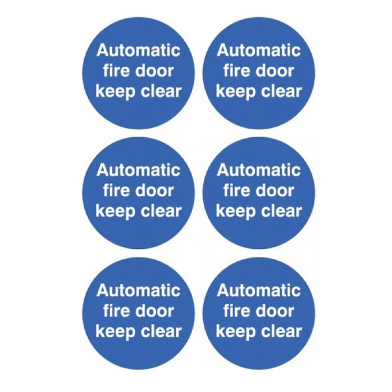 Automatic fire door keep clear stickers circular
