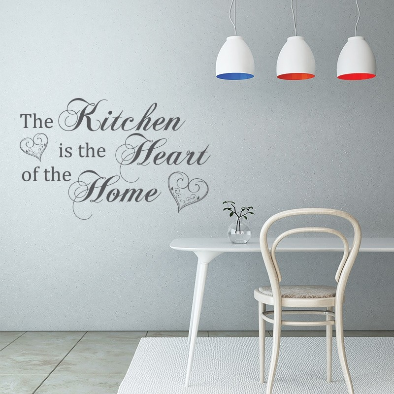 The kitchen is the heart of the home quote - Kitchen Vinyl Wall Art